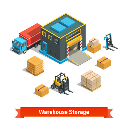 pallet: Comercio al por mayor edificio de almacenamiento de almacén con carretilla elevadora mercancías en paletas y de camiones. Productos concepto de distribución. Isométrico ilustración vectorial estilo plano aislado en fondo blanco. Vectores