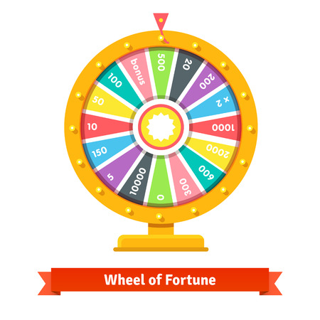 Wheel of fortune with number bets. Flat style vector illustration isolated on white background. Vettoriali