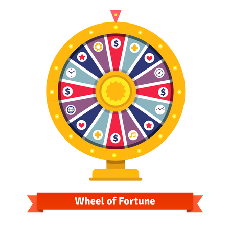 a wheel: Wheel of fortune with bets icons. Flat style vector illustration isolated on white background.