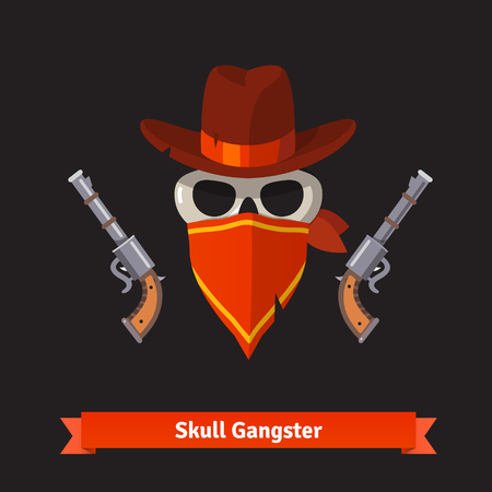 Skull gangster in stetson hat with two revolver guns. Flat style vector illustration isolated on black background.