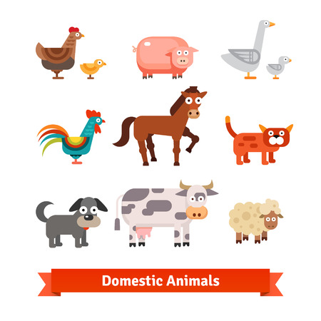 milker: Set of village farm domestic animals. Flat style vector illustration isolated on white background.
