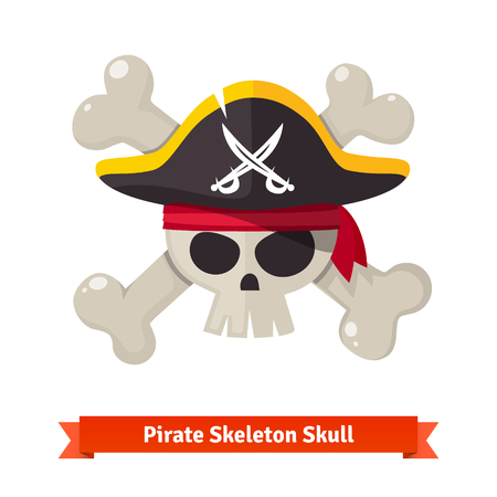 cocked: Pirate skull with crossed bones in red bandana and black cocked hat. Flat style vector illustration isolated on white background.
