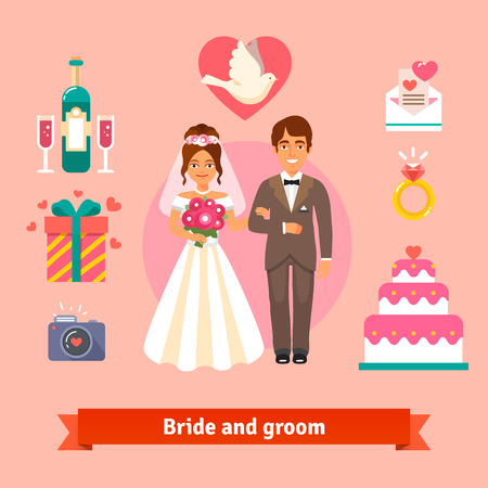 ślub: Bride and groom with wedding icons set. Loving couple. Flat style vector illustration isolated on pink background.
