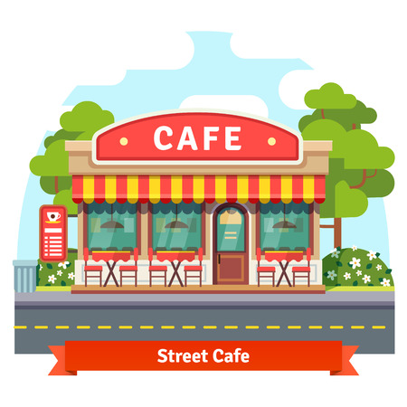 cafe: Open cafe building facade with outdoor street chair seats and tables. Flat style vector illustration isolated on white background.