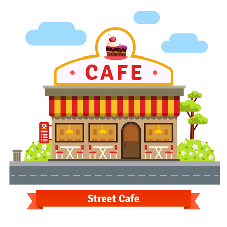 sidewalk cafe: Open cafe building facade with outdoor street chair seats and tables. Flat style vector illustration isolated on white background.