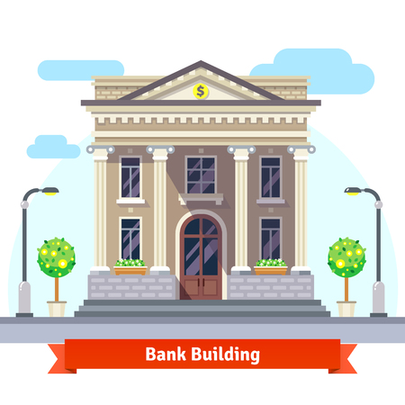 construccion: Fachada de un edificio de un banco con columnas. Ilustración vectorial de estilo plano aislado en fondo blanco.
