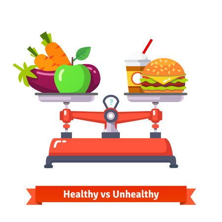calories: Healthy versus unhealthy food. Hamburger and cola or vegetables and fruits. Flat style vector illustration isolated on white background.