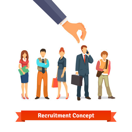 Businessman hand picking up selected man from group of candidates. Recruitment and human resources concept. Flat style vector illustration isolated on white background.