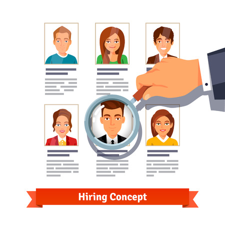 HR manager looking through a magnifying glass on job candidates. Hiring concept. Flat style vector illustration isolated on white background. Illustration