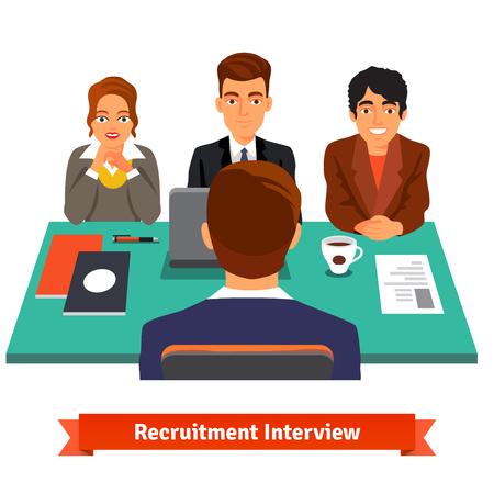 entrevista de trabajo: Hombre que tiene una entrevista de trabajo con especialistas en recursos humanos y un jefe. Ilustraci�n vectorial de estilo plano aislado en fondo blanco.