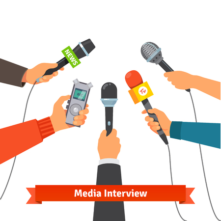 interview: Microphones and voice recorder in hands of reporters on press conference or interview. Journalism concept. Flat style vector illustration isolated on white background.