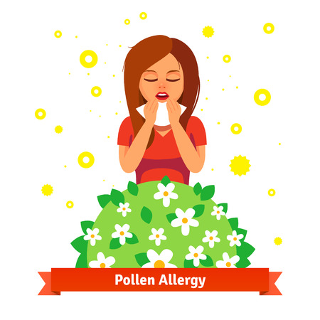 anther: Girl suffering from spring pollen allergy. Sneezing into handkerchief behind blossoming flower bush. Flat style vector illustration isolated on white background.