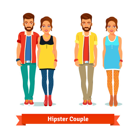 casual dress: Casual dressed standing hipster couple. Flat style vector illustration isolated on white background. Illustration