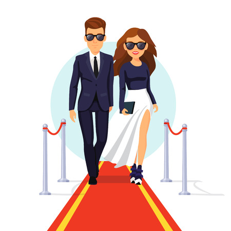guests: Two rich and beautiful celebrities walking on a red carpet. Flat style vector illustration isolated on white background.