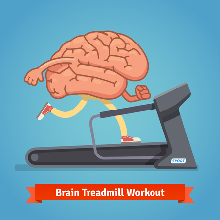 mental work: Brain working out on a treadmill. Education concept. Flat style vector illustration isolated on blue background. Illustration