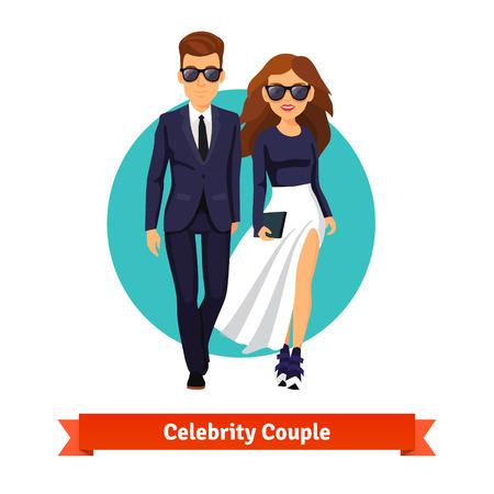 famosos: Hombre y mujer estrellas elegantes caminando juntos. Ilustración vectorial de estilo plano aislado en fondo blanco.