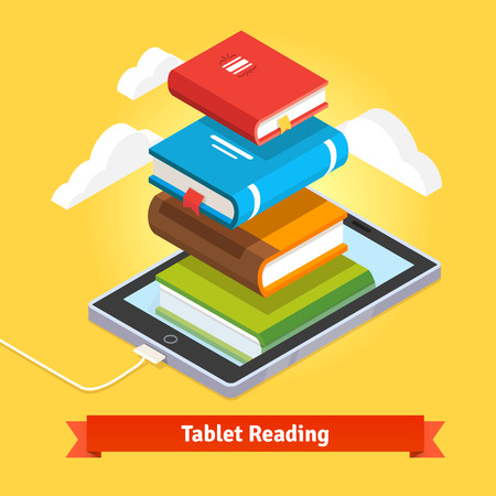 computer education: Tablet computer book reading and modern cloud technology mobile education concept. Flat style vector isolated illustration. Illustration