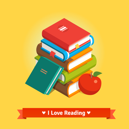 apple isolated: Stack of book tomes with apple. Knowledge and education concept. Flat style vector isolated illustration. Illustration
