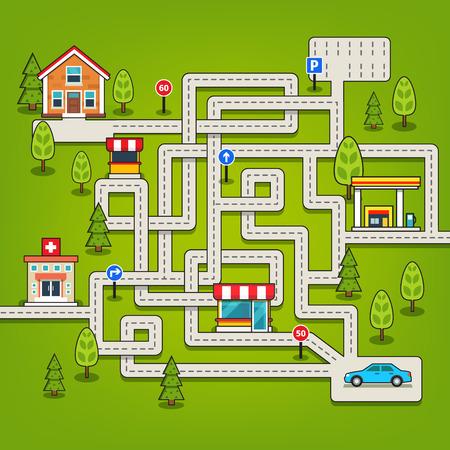 laberinto: Laberinto juego con carreteras y coches, parking y se�ales de tr�fico. Aislado estilo plano ilustraci�n vectorial.