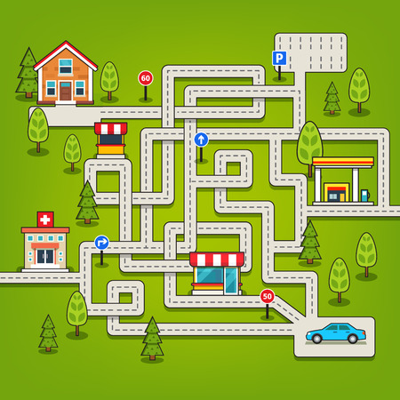 Maze game with roads and car, parking and road signs. Flat style vector isolated illustration.