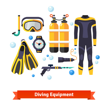 Diving equipment icons set: mask and snorkel, oxygen tanks, wetsuit, flashlight, fins and harpoon pistol. Flat style vector isolated on white background.