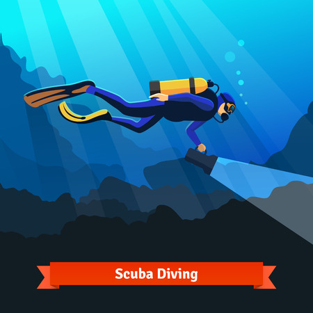 Professional scuba diver man underwater searching with big flashlight in hand. Flat style vector isolated illustration.