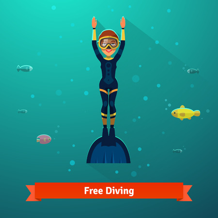 free diver: Surfacing free diver woman in wetsuit, monofin and mask. Flat style vector isolated illustration.