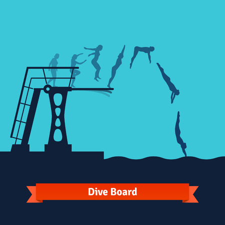 Phases of a man jumping from a dive board into the water. Flat style vector isolated illustration. Vettoriali