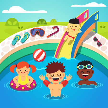 Kids having a pool party. Happy swimming and sliding into the water. Flat style cartoon isolated vector illustration. Illustration