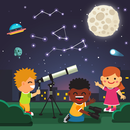 cartoon stars: Kids making telescope astronomical observations of star constellations in the starry night with full moon, comet and ufo. Flat style cartoon isolated vector illustration.