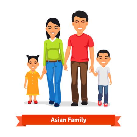 家人: 亞洲家庭走在一起,並牽手。平面樣式矢量插圖隔絕在白色背景。 向量圖像