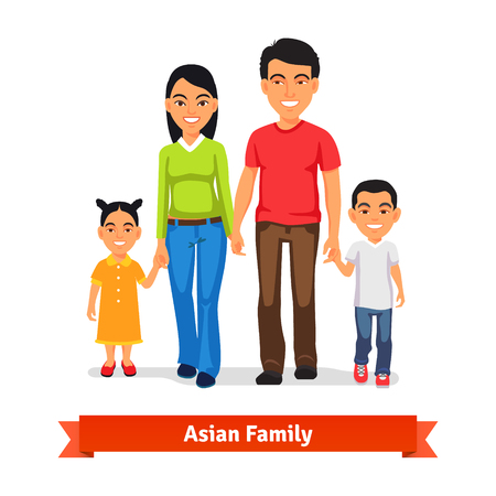 family: Asian family walking together and holding hands. Flat style vector illustration isolated on white background.
