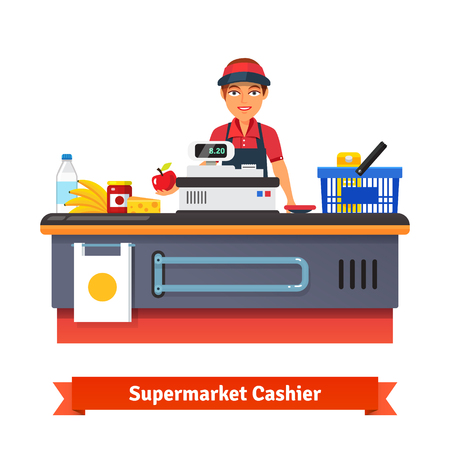 sales clerk: Supermarket store counter desk equipment and clerk in uniform ringing up grocery  purchases. Flat style vector illustration isolated on white background.