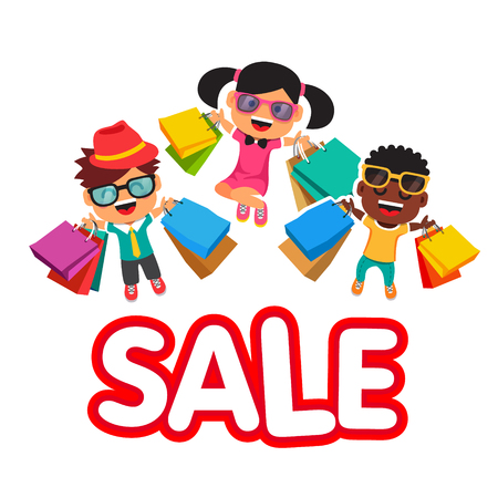 Childrens sale. Happy smiling and jumping kids with purchases in shopping bags. Flat style vector illustration isolated on white background.
