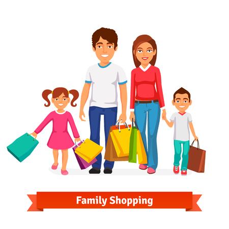 niños de compras: Compras de la familia de estilo Flat ilustración vectorial aislados en fondo blanco.
