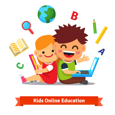 cartoon earth: Boy and girl studying together with tablet computer and laptop. Modern remote education concept. Flat style vector illustration isolated on white background.