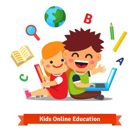 Los niños y niñas que estudian junto con la computadora tableta y portátil. Concepto de educación a distancia moderna. Ilustración vectorial de estilo plano aislado en fondo blanco. Foto de archivo - 47494046