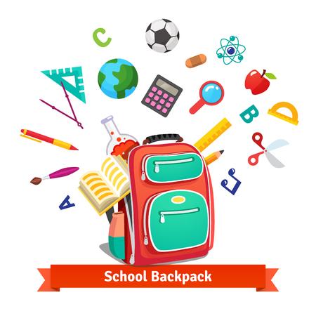 escuela infantil: Volver a la escuela. Mochila del estudiante con la explosión de objetos educativos. Ilustración vectorial de estilo plano aislado en fondo blanco.