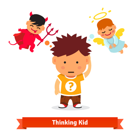 cartoon human: Thinking kid making tough choice between good and evil. Angel and devil advising him. Flat style vector illustration isolated on white background.