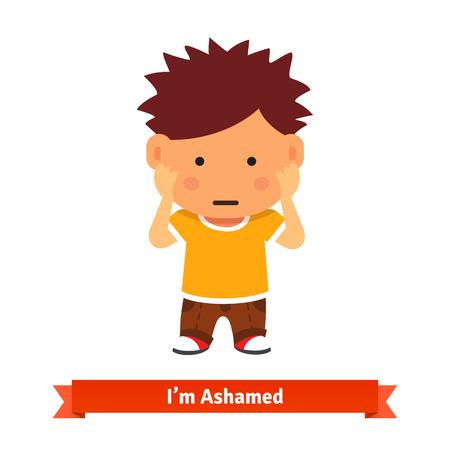 niños malos: Kid sosteniendo sus manos en la cara, puede sentir miedo, se confundirá tímido o jugando. estilo plano ilustración de dibujos animados de vectores aislados sobre fondo blanco. Vectores