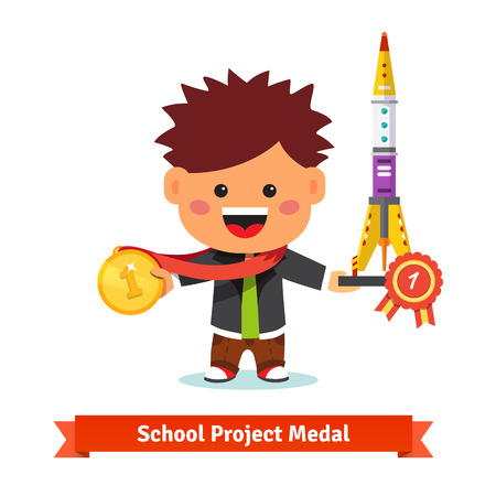 Happy kid taken first prize at school project science fair. Flat style vector illustration isolated on white background.