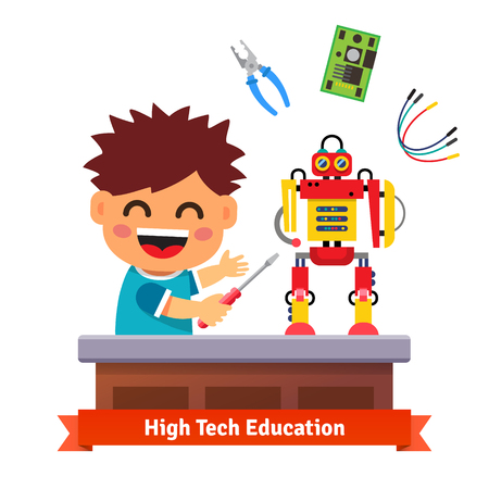 Kid is making his own robot. High tech hardware engineering and electronics education. Flat style vector illustration isolated on white background.