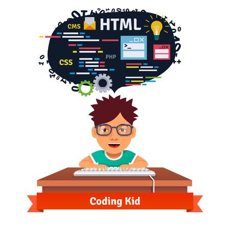 aprendizaje: Kid es aprender diseño web y codificación. Ingeniería de software para la web. Ilustración vectorial de estilo plano aislado en fondo blanco. Vectores