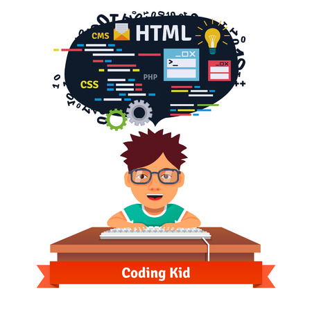 children in class: Kid is learning web design and coding. Software engineering for web. Flat style vector illustration isolated on white background.