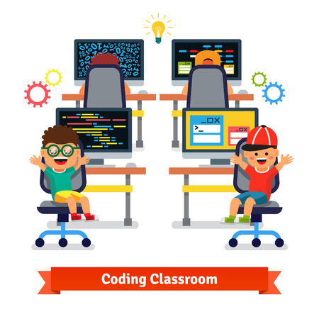 Crianças aprendendo a programar e programar na aula de ciências de engenharia de software. Ilustração em vetor estilo plano isolada no fundo branco. Ilustración de vector