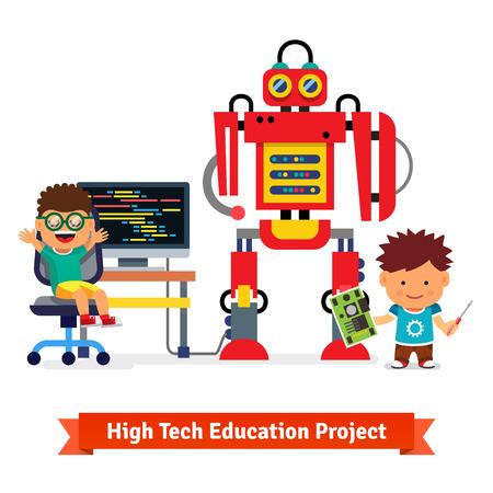 Los niños están haciendo y programando enorme robot. Hardware de Robótica e ingeniería de software. Ilustración vectorial de estilo plano aislado en fondo blanco.
