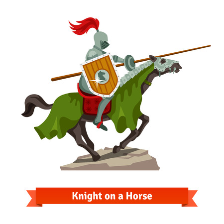 knight: Armoured medieval knight riding on a horse with spear and shield. Flat vector illustration isolated on white background.