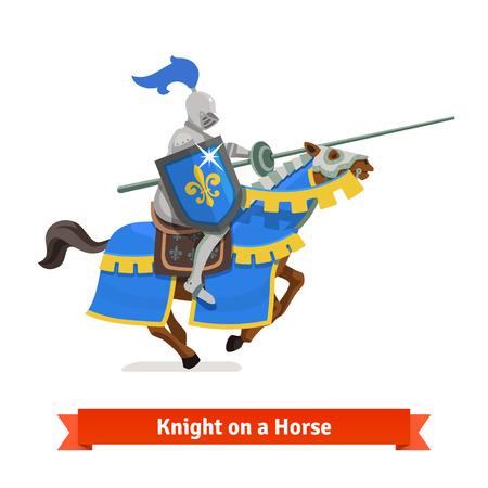 Cavaleiro medieval blindado que monta em um cavalo com lança e protetor. Ilustração em vetor plana isolada no fundo branco Ilustración de vector