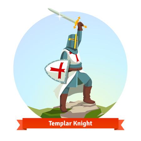 cavaliere medievale: Cavaliere Templare in armatura con scudo e spada. Appartamento illustrazione vettoriale isolato su sfondo bianco.