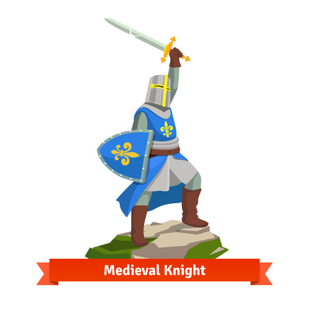 arms above head: Heavy armoured french medieval knight standing with shield and sword. Flat vector illustration isolated on white background.